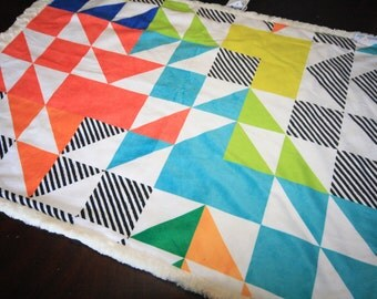 Triangle Baby Blanket, Blue Baby Bedding, Baby Boy MINKY Blanket, Minky Baby Blanket, Rainbow Puzzle Quilt, Ready to Ship Baby Boy Blanket