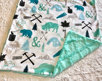 Woodland Baby Blanket, Deer Moose Baby Bedding, Baby Boy MINKY Blanket, Sea Glass Woodcutter Blue Baby Blanket, Baby Shower Gift