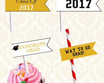 Class of 2017 Straw Flags, Black and Gold Graduation Printable Party Toppers, Congrats Grad Straw Toppers, Cupcake Toppers, Food Flags