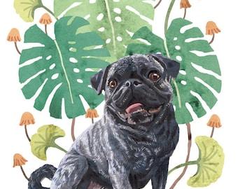 Custom Pet Portrait with Decorative Plant Background