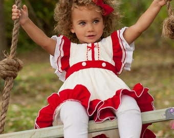 Sweet Molly Christmas Dress Red and Ivory 25% OFF COUPON 1st Christmas Dress Christmas Dress Christmas Dress and Bloomer Set Disney Holiday