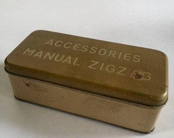 Gold Sewing Machine Attachments Box