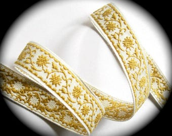 "Vintage Woven Ribbon -  5/8"" x 5 yds  Natural and Tanish / Gold- Floral"