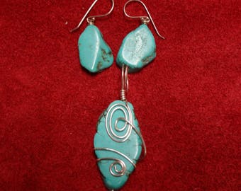 Turquoise and Silver Plated Wire Wrapped Pendant and Earrings Fishhooks are Sterling