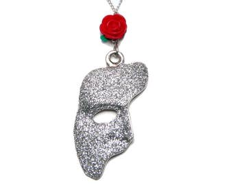 Phantom Of The Opera Mask Rose Necklace Sparkly Edition - Red Rose