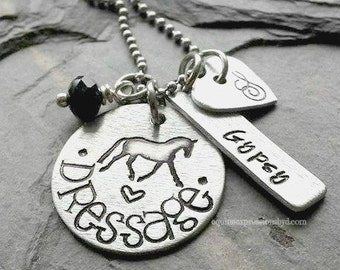 Dressage Horse Necklace- Personalized Hand stamped dressage charm necklace- Necklace for Equestrian - Horse Lover Necklace-Dressage