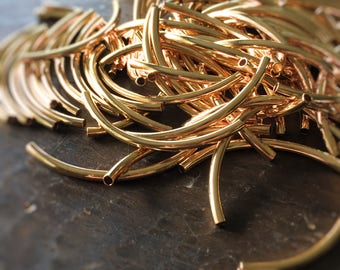 Madison Ave. Gold-Plated Curved Long Noodle Tube Beads (50mm by 3mm) - (10)