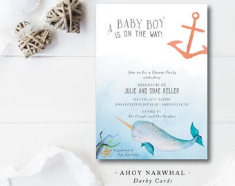 Ahoy Narwhal Printed Invitations | Baby Shower | Sip and See | Announcement Invitation | Printed or Printable by Darby Cards
