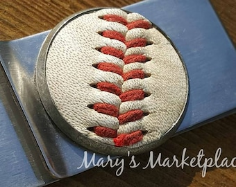 Vintage Baseball inserted into Money Clip, Coaches, Fathers Day, Baseball, Groomsman, Bachleor Gift