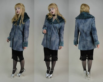 90s Faux Fur Collar Blue Denim Effect Button Through Coat S / M