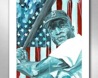 Jackie Robinson - American Hero Art Print 11x14 by Rob Ozborne