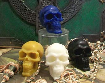 Set of 2 Small  Beeswax Skull Candles Día de los Muertos Choice Of Color
