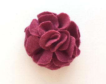 Dusty Rose Pink Cashmere Flower Pin/Hair Clip -  Hair Accessory - Repurposed Cashmere - Upcycled Cashmere Brooch - Recycled Cashmere Flower