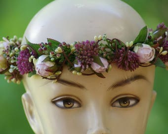Mauve Rose BOHO Crown Head Lei, wedding headpiece, woodland flower, bridal hair flower, bridal headband, head garland