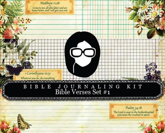 Bible Journaling Kit - Bible Verse Set #1 - 3 Pg Instant Downloads - digital rose paper, bible verses diy, prayer journaling, scripture art