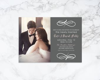 Printable Modern Newly Married Reception Party Photo Card Invitation