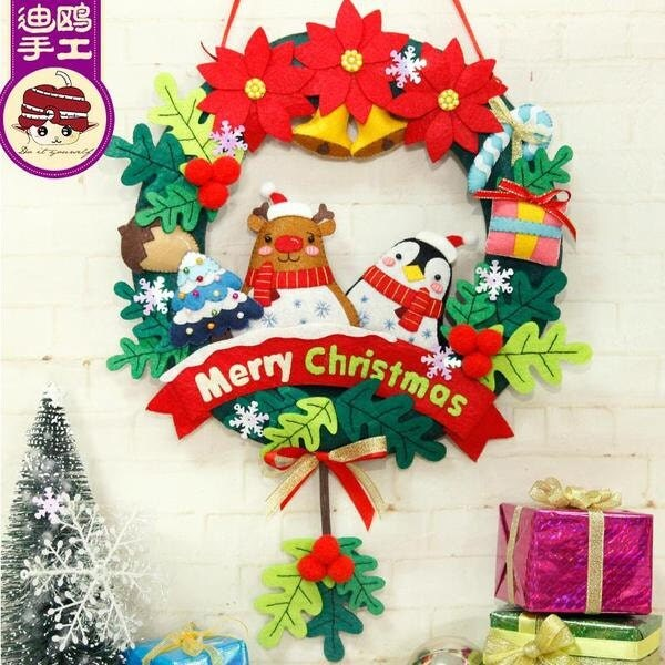 Pre Cut Diy Christmas Wreath Kit Diy Felt Kit Christmas