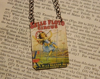 Circus necklace Circus Jewelry French Circus Poster mixed media jewelry