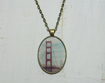 Ophelia black and silver wearable art statement necklace for Golden gate bridge jewelry
