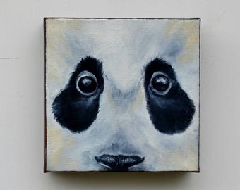 Original oil painting on canvas, panda painting, wall art, home decor - Eye See You series thirteen