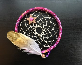 sale - Mini Dream Catcher - purple and pink- white and gold glitter feather - dreamcatcher - ornament -  ready to ship