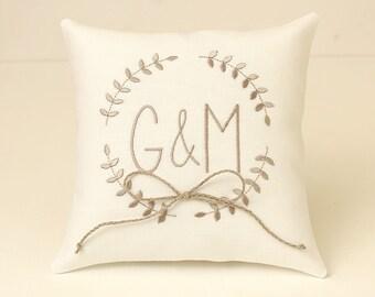 Ring pillow wedding ring bearer pillow personalized ring pillow linen gray monogram pillow linen wedding pillow