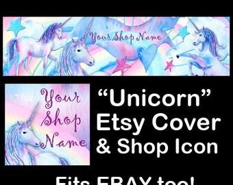 UNICORN Etsy Large Cover Banner Set/Premade Etsy Banner/Unicorn Shop Etsy Banner/Unicorn Etsy, Rainbow Etsy Banner, Ebay