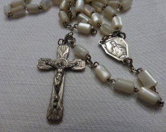 Art Deco, Rosary,  Mother of Pearl, White Metal Detail, 5 Decade,  French Vintage.