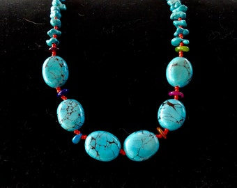 23 Inch Dark Turquoise Necklace with Earrings