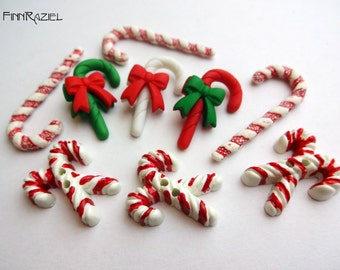 button set candy canes Christmas Buttons 10x35mm