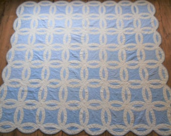 Antique Handstitched Double Wedding Ring Quilt - Blue and White