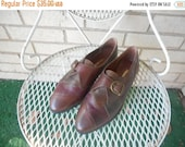 Spring Sale Vintage Brown and Maroon Leather Color Block Buckle Brogue Oxford Slip On Loafers Size 8 B