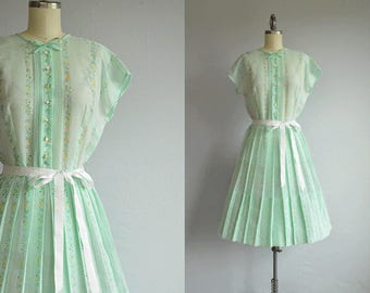 Vintage 1950s Dress / 50s LAiglon Sheer Mint Green Full Pleated Skirt Sundress