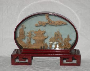 Asian Diorama Shadow Box Chinese Cork Balsa Art Pagoda Birds Trees Lacquer Vintage