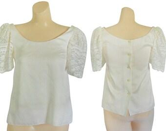 White Lace Shirt White Lace Blouse Short Sleeve Blouse Lace Top 80s Blouse Women Shirt Ladies Blouse Puffy Sleeve Shirt Short Sleeve Shirt