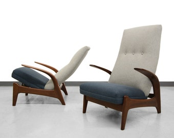Pair of Danish Mid Century Rock'n Rest Reclining Rocking Chairs by Gimson Slater
