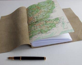 UK Travel Map Journal, Explorer Adventure Journal, Wrap Journal, Hand Bound Travel Scrapbook Notebook, Travel Gift, vacation Journal