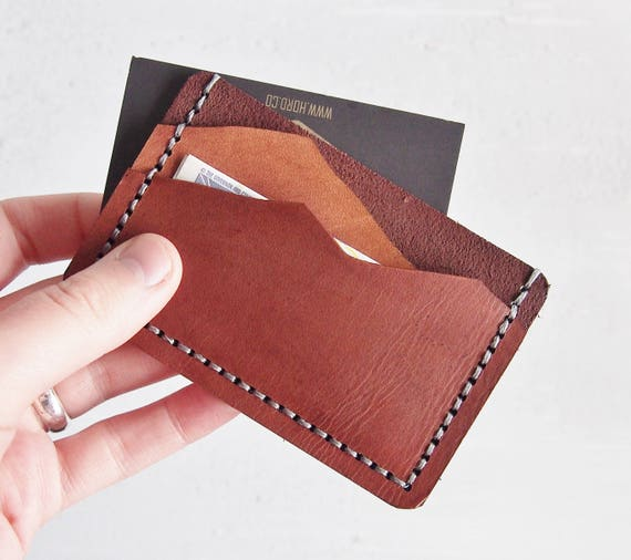 Leather Mountain Wallet, Personalised leather card holder, hand stitched wallet, fathers day gift, mountain man wallet boyfriend card holder