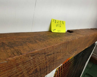 "Reclaimed Barnwood Beam Fireplace Mantle 65 1/4"" Long Fireplace Mantle"