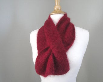 Angora Neck Scarf, Ascot Keyhole Scarf, Pull Through, Burgundy Red, Hand Knit, Angora Rabbit, Super Fuzzy Scarflette