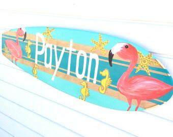 Custom Beach Signs, Personalized Surfboard Art, Girls Beach Decor, 36 inch