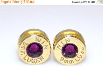 30% OFF SALE Bullet Earrings. February Birthstone. Amethyst . 9mm Luger
