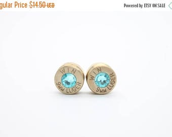 30% OFF SALE Bullet Earrings. Turquoise Blue .9mm Luger