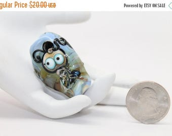 30% OFF SALE Little Annabelle . Lampwork Fairy Bead . Awareness Ribbon. by Lori Davidson