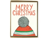 Christmas Cards - Box Set of 8 - Merry Christmas Toboggan Card
