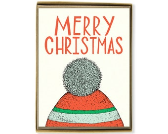 Christmas Cards - Box Set of 8 - Merry Christmas Toboggan Card