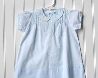 Vintage Baby Clothes, Girls Dress 50s-60s, Blue w/ White Floral Embroidery, Pin Tucks, Cotton Lawn, Size 0-3 month, Reborn Doll Clothes
