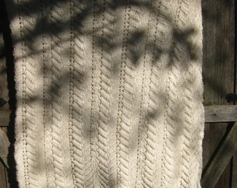 Hand Knit - LARGE Afghan Fancy Soft Lap Throw, Bed Coverlet - in Cream color - N8