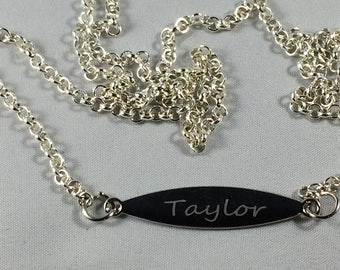 Engraved Bar Necklace Personalize With Your Own Text. Personalized Pendant Necklace Engraved New