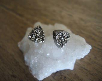 Druzy Studs, Agate Druzy Stud Earrings, Silver Druzy Earrings, 10mm Triangle Studs, Druzy Jewelry, Druzy Jewelry Gifts For Her, Silver Stud